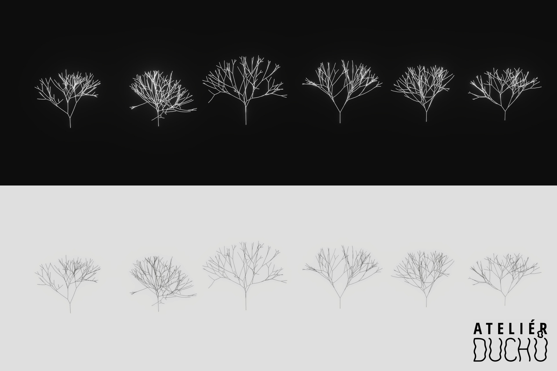 First tree assets created with Sapling Generator in Blender