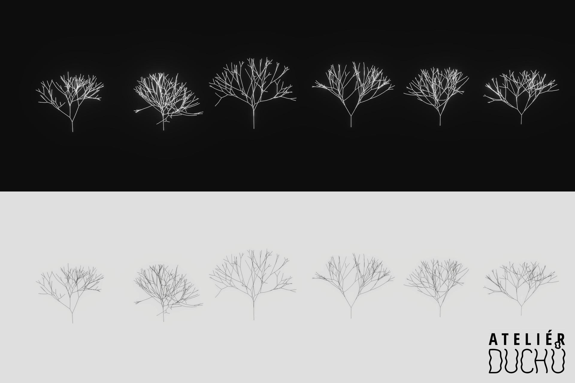 Prvé assety stromov, vytvorené v Blenderi pomocou Sapling Generator